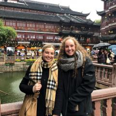 Civil engineering students Alice Liddy and Laura Brown in Yu Garden, Shanghai.