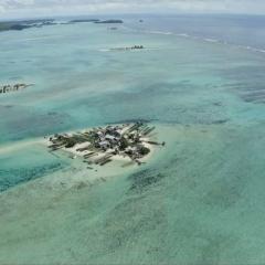 aerial photo of a habitated island