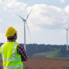 worker in high vis clothes looking at solar windmills