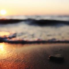 waves on beach at sunrise at Bribie Island