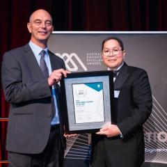 Adjunct Associate Professor Dr Harry Asche presented with best engineers in the State award