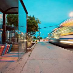 long exposure photo of public road